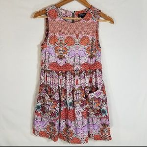 Topshop Orange Floral Boho Tunic Top with Pockets
